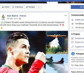 Ronaldo, Justin Bieber et Gal Gadot ont-ils envoyé des bombardiers d'eau pour éteindre les feux en Amazonie? (Spoiler, non)