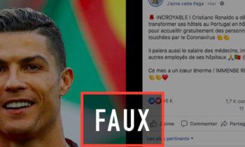 la fausse rumeur des hôtels de Cristiano Ronaldo transformés en hôpitaux